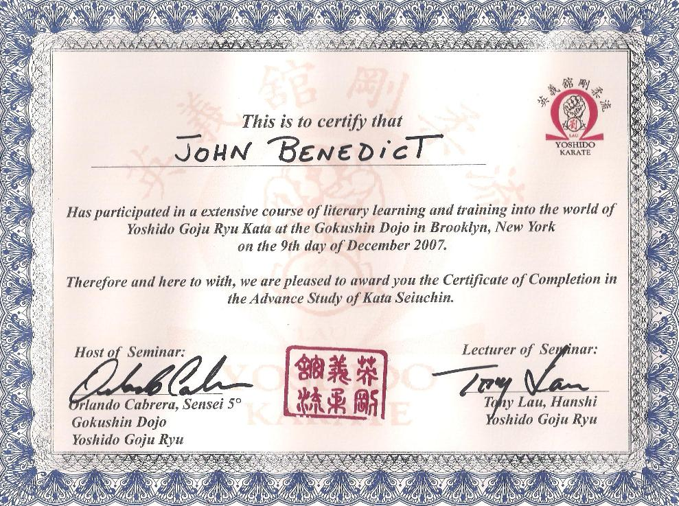 Certificates seitouha goju ryu karate seigi dai dojo for Karate certificates templates free